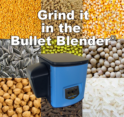 A Bullet Blender is placed on top of a background that shows grain, corn, beans, rice, and plant seeds for homogenization, and written above it is Grind it in the Bullet Blender