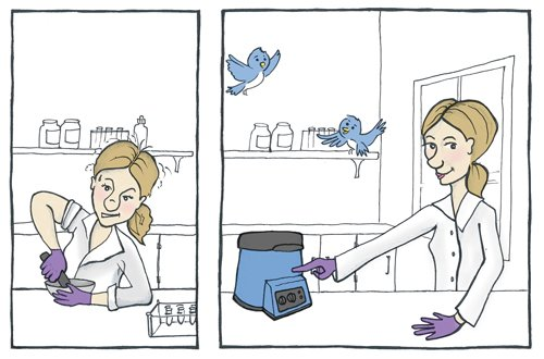 A comic of a frustrated woman homogenizing samples by hand in the first panel and the same woman, now happy, using the Bullet Blender in the second panel